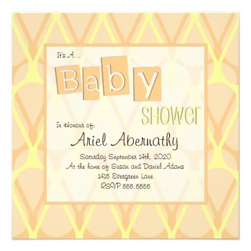 retro drop baby shower invitations orange
