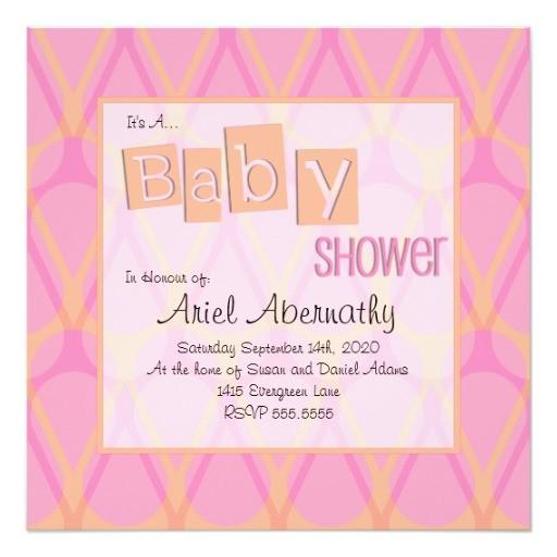 retro drop baby shower invitations pink orange