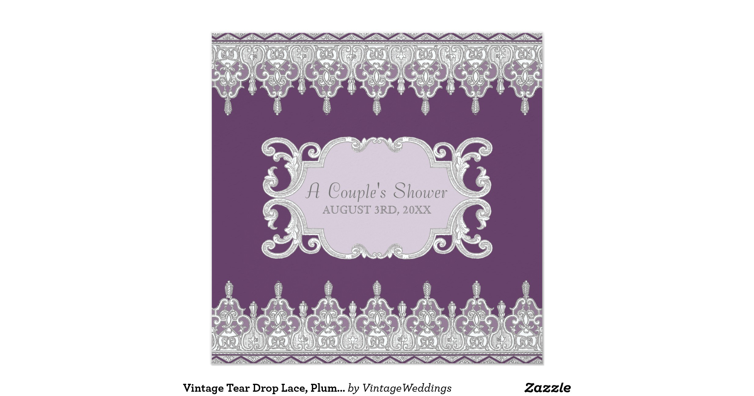 vintage tear drop lace plum grey bridal shower invitation 161518965914929852