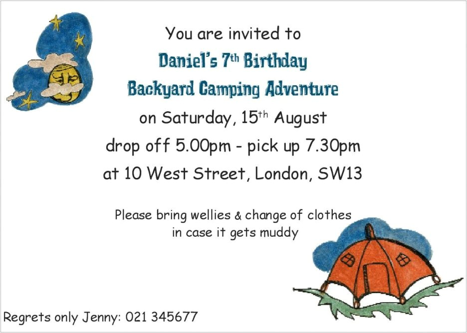 invitation wording drop off party