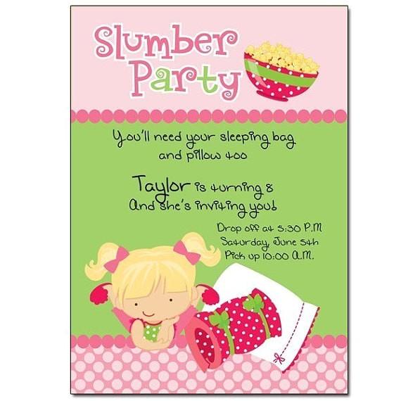 slumber party invitation wording