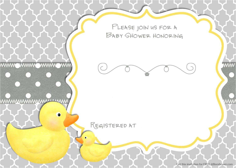 Duck Baby Shower Invitation Templates Free Printable Rubber Duck Baby Shower Invitation