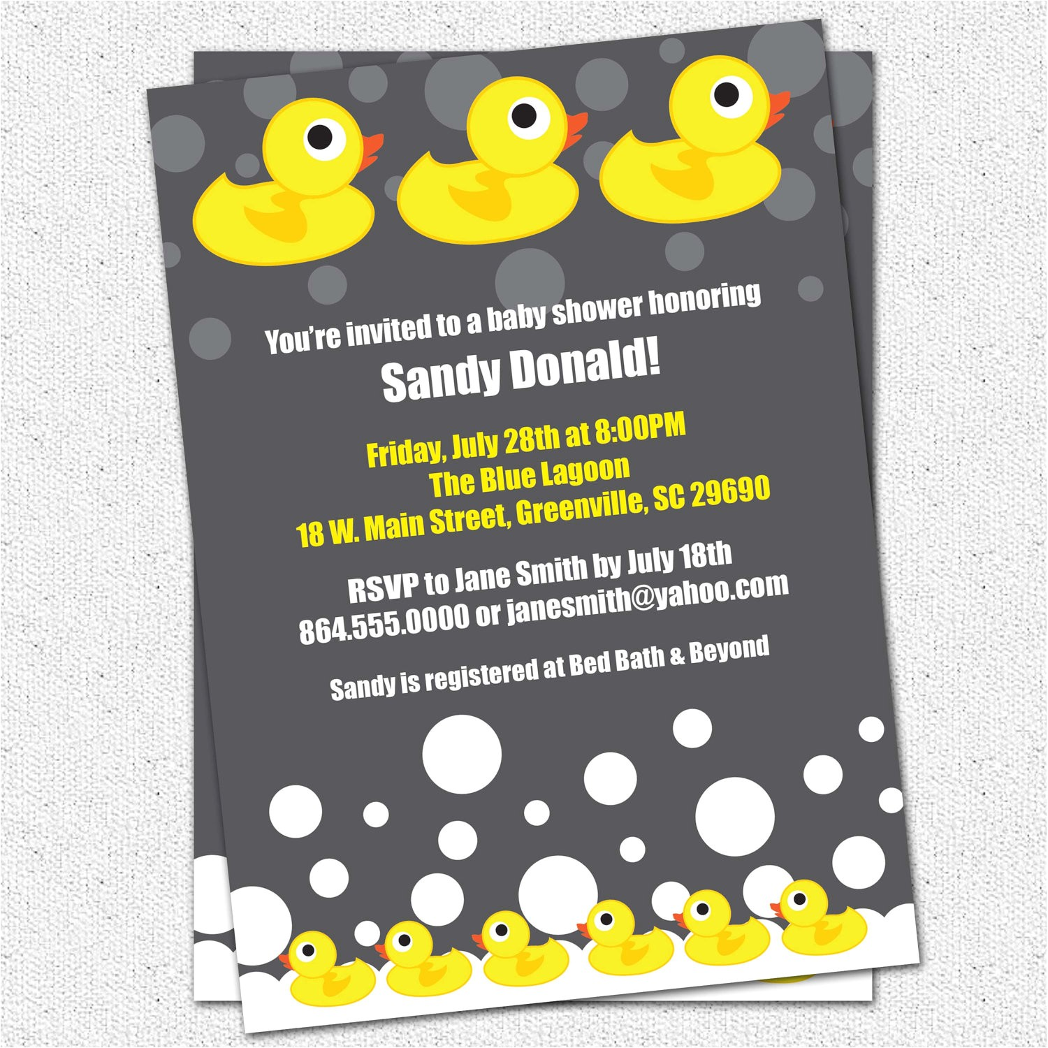 baby shower invitations rubber duck ducky duckie gender neutral boy or girl
