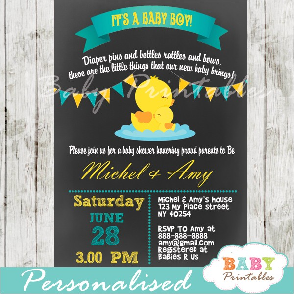 chalkboard rubber ducky baby boy shower invitation d140