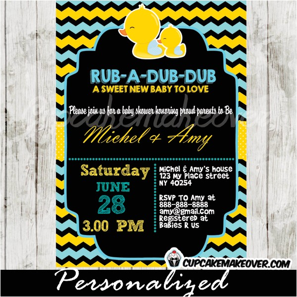 chalkboard yellow blue rubber duck baby shower invitation personalized