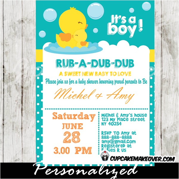 rubber duck baby shower invitation personalized