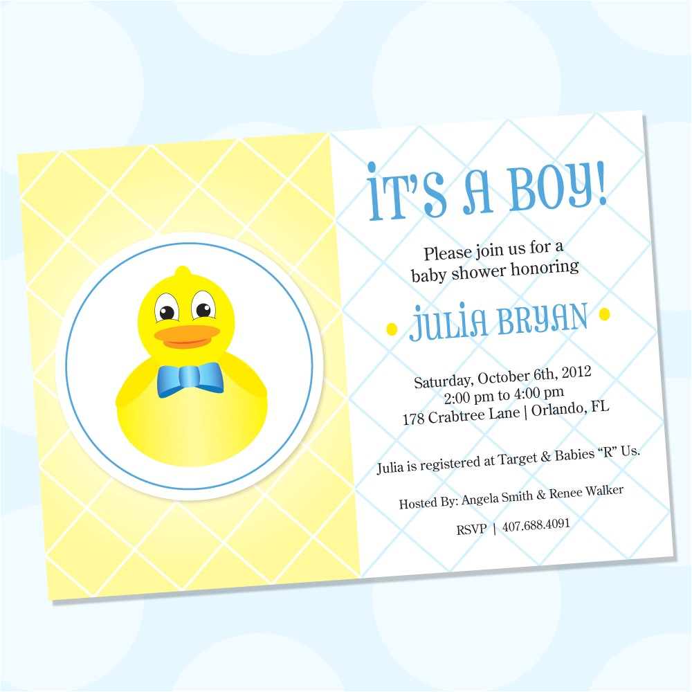 rubber ducky themed baby shower invitations