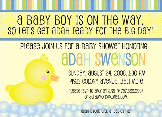 duck theme baby shower invitation