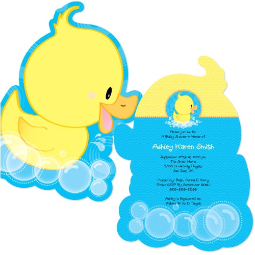 ducky duck shaped baby shower invites
