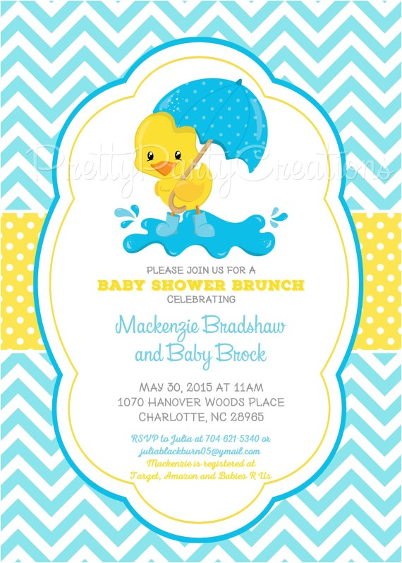 duck baby shower invitation print choose