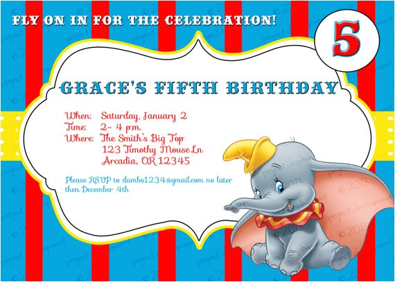 custom dumbo birthday invitations