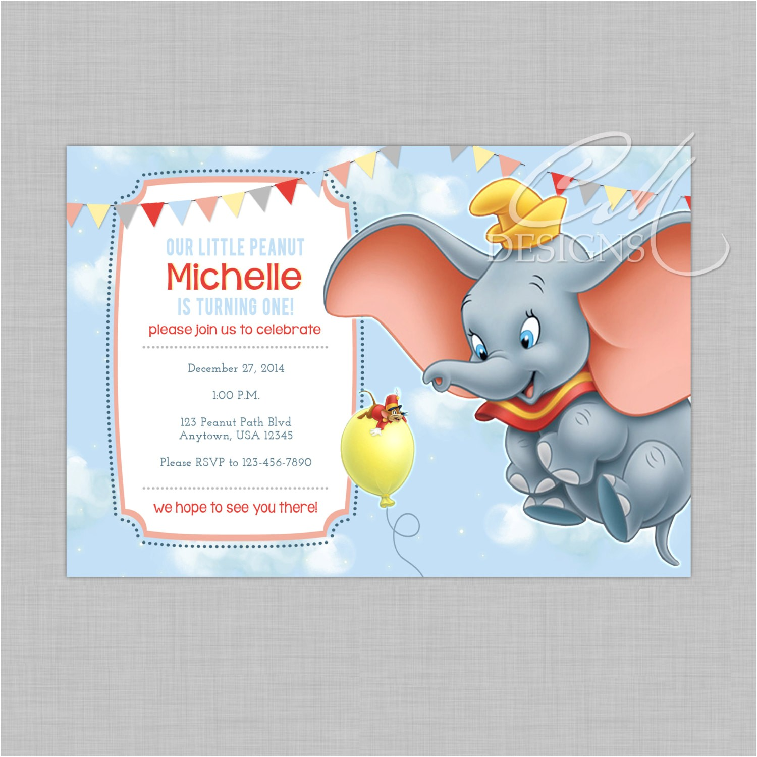 dumbo birthday invitation