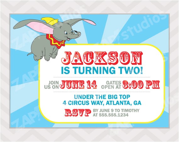 dumbo birthday party invitation digital