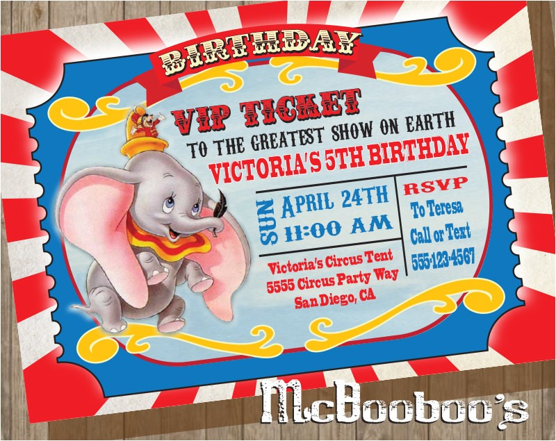 dumbo birthday party vip circus ticket