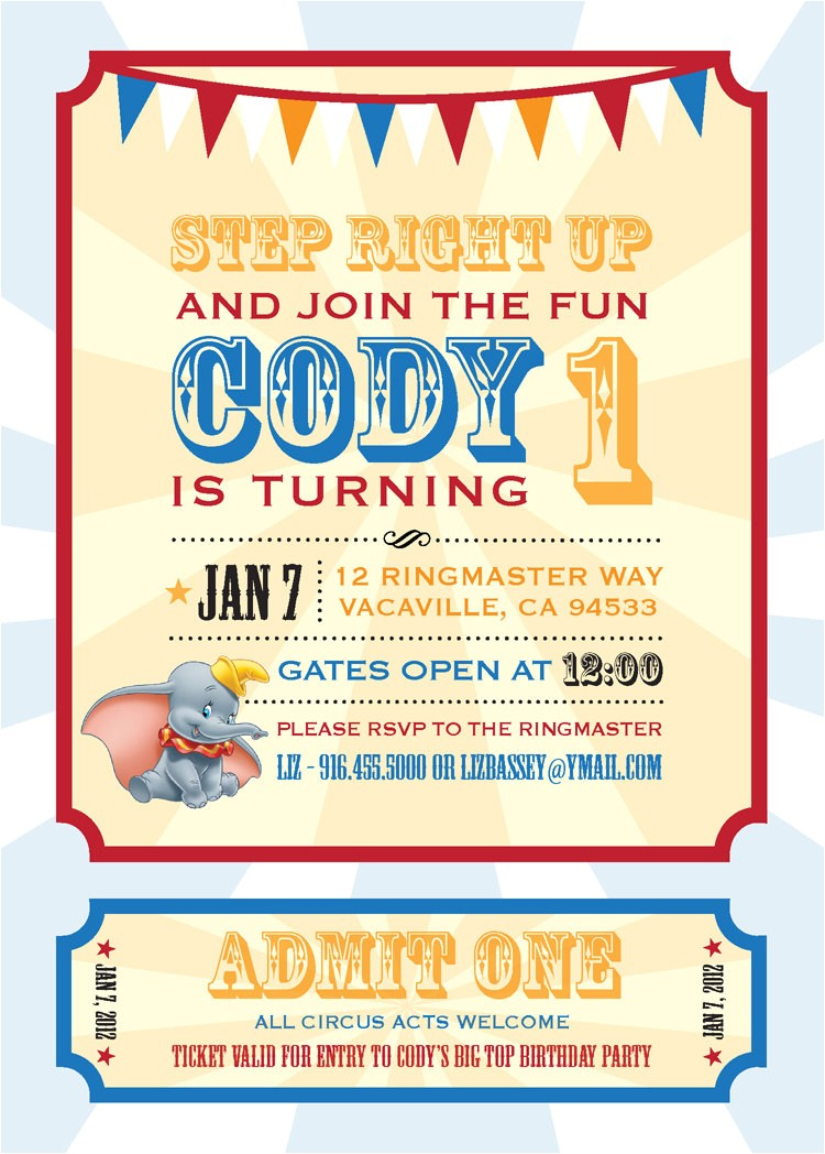 Dumbo Birthday Party Invitations Dumbo Circus Personalized Birthday Invitation Printable