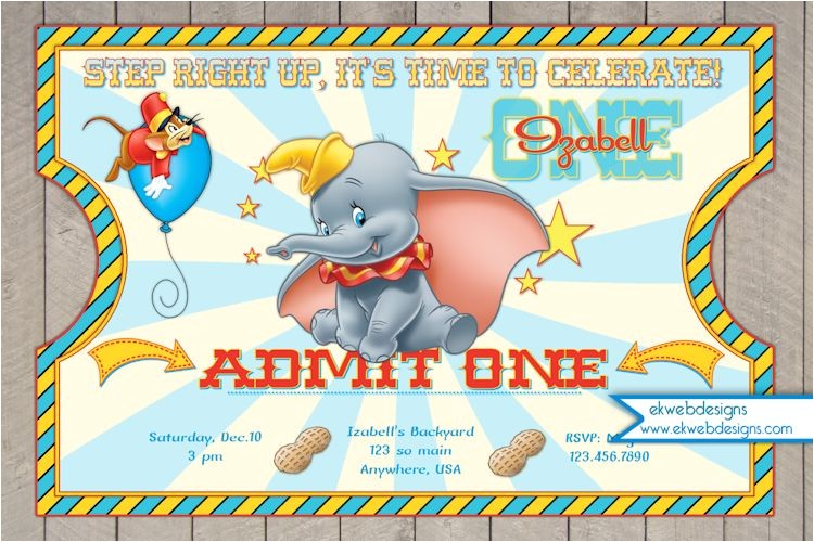 dumbo circus ticket style birthday invitations dumbo invitation
