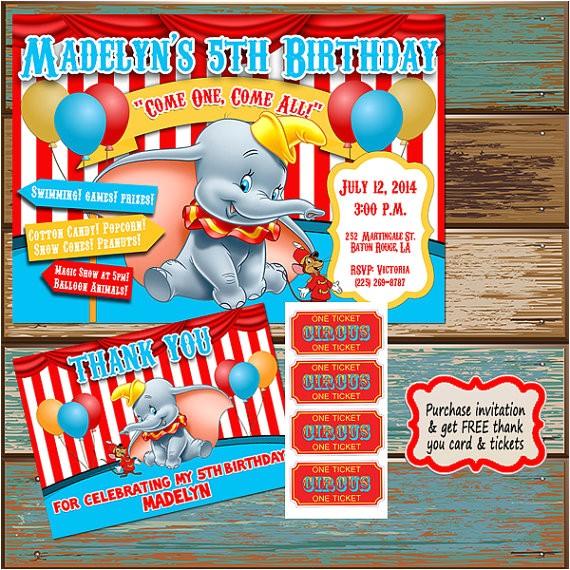 dumbo birthday invitations with free