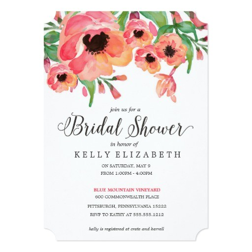 modern floral bridal shower invitation