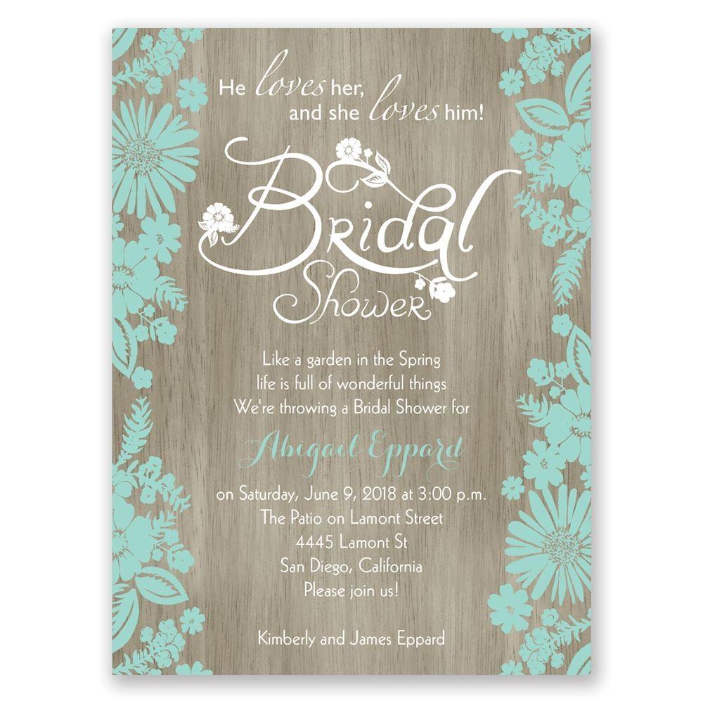 E Invites Bridal Shower Flowers and Woodgrain Petite Bridal Shower Invitation