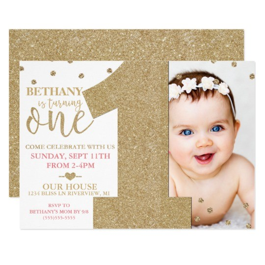 first birthday faux gold glitter pink invitation 256462332653933226
