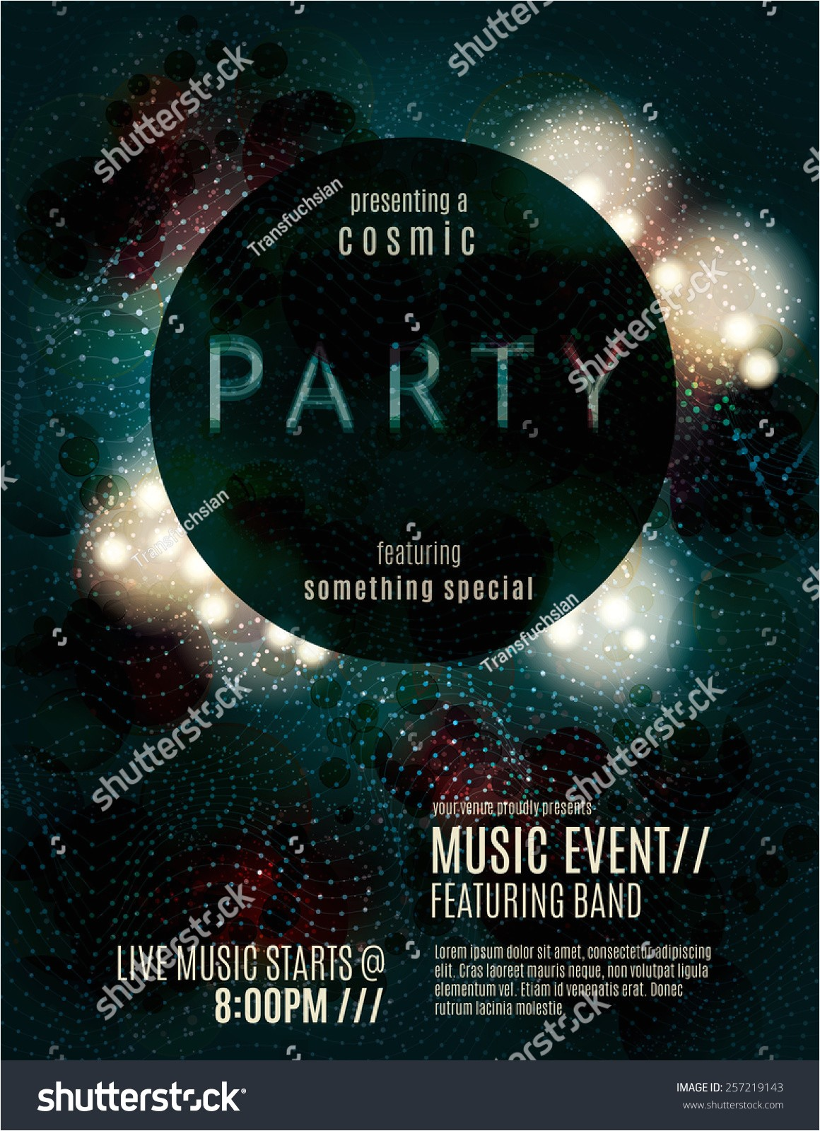 stock vector dark eclipse party invitation poster or flyer template design with glowing glitter effects