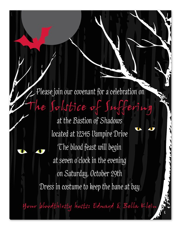 Eclipse Party Invitations Halloween Eclipse Party Invitations by Invitation
