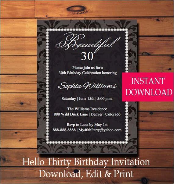 30th birthday party invitation thirty birthday