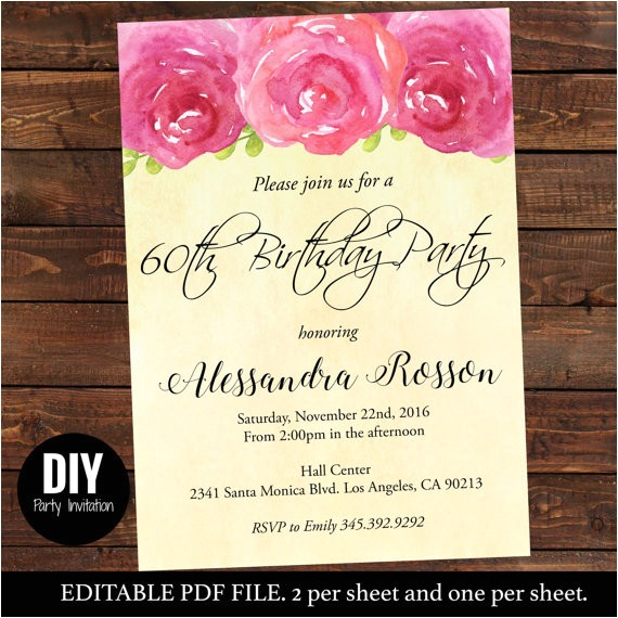 downloadable editable shabby chic peony birthday