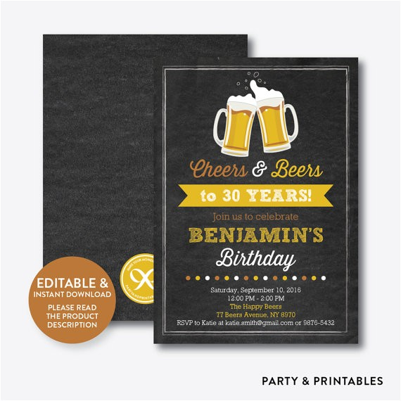 instant download editable cheers beers birthday 2