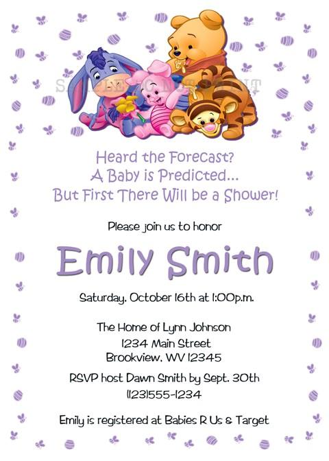 eeyore baby shower invitations