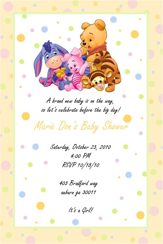 winnie the pooh baby shower invitations for boys
