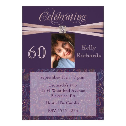 elegant 60th birthday party photo invitations