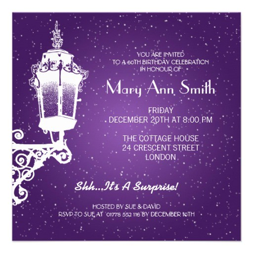 elegant 60th birthday party vintage lamp purple invitation