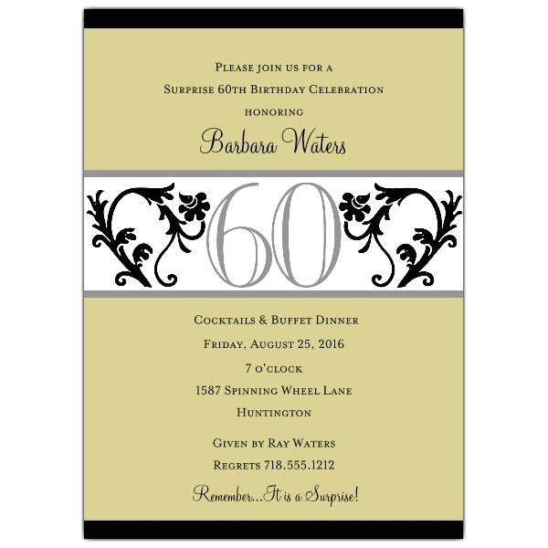Elegant Vine Chartreuse 60th Birthday Invitations p 604 57 EVC60