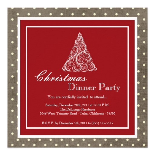 elegant holiday christmas dinner party invitation