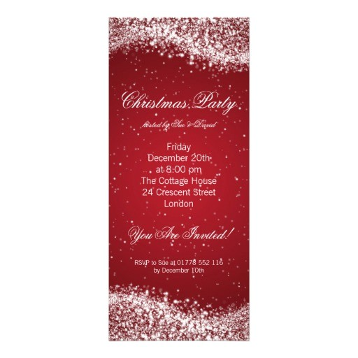 christmas party invitation elegant sparkle red 161756530887874309