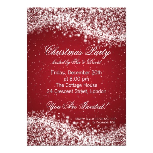 christmas party invitation elegant sparkle red 161055027226979561