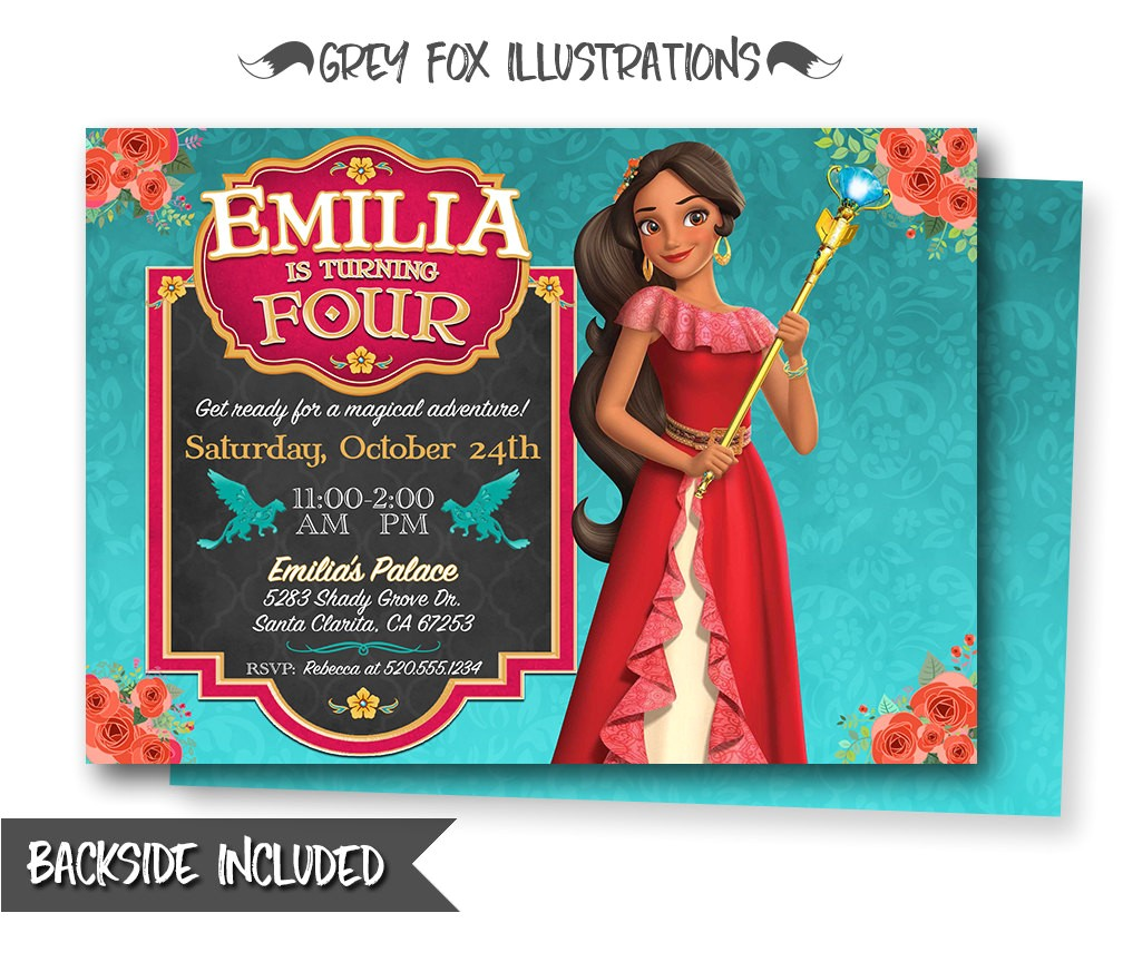 elena of avalor birthday invitation