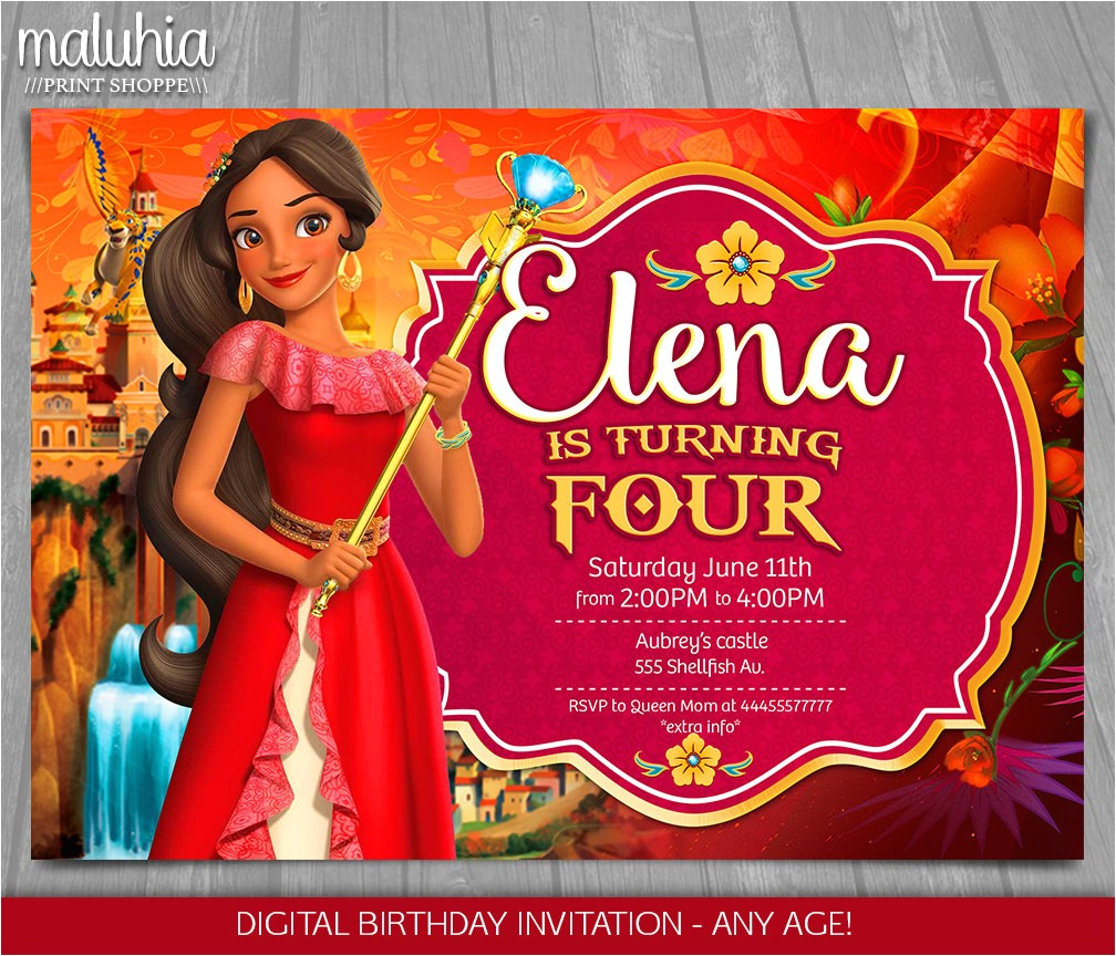 elena of avalor invitation disney