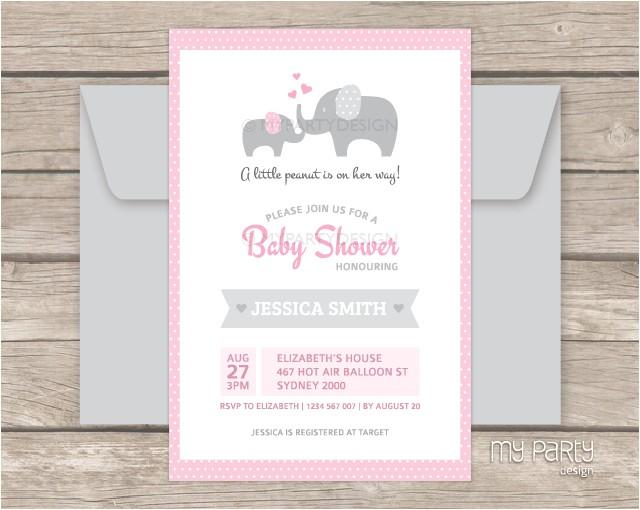 elephant girl baby shower printable invitation