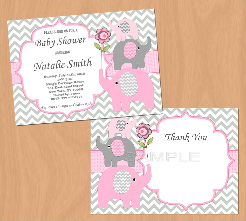 girl baby shower invitation elephant