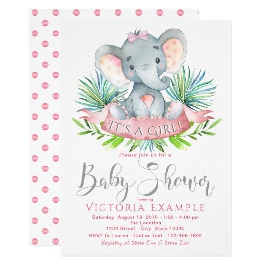 girls baby elephant baby shower invitations