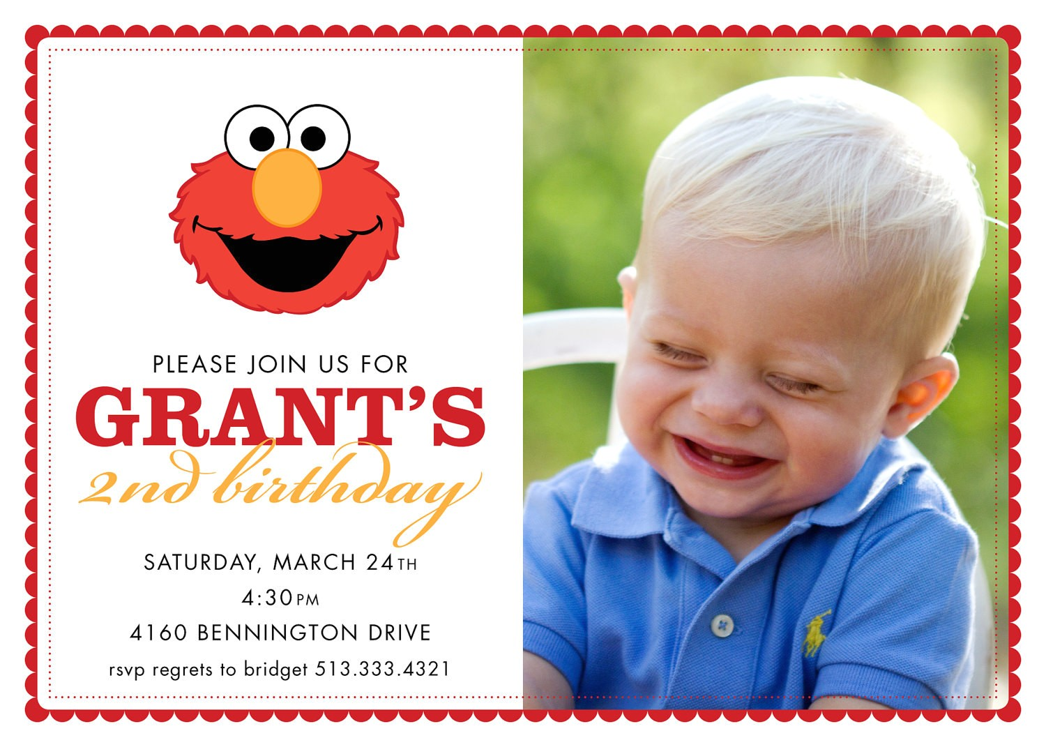 Elmo Customized Birthday Invitations Chandeliers & Pendant Lights
