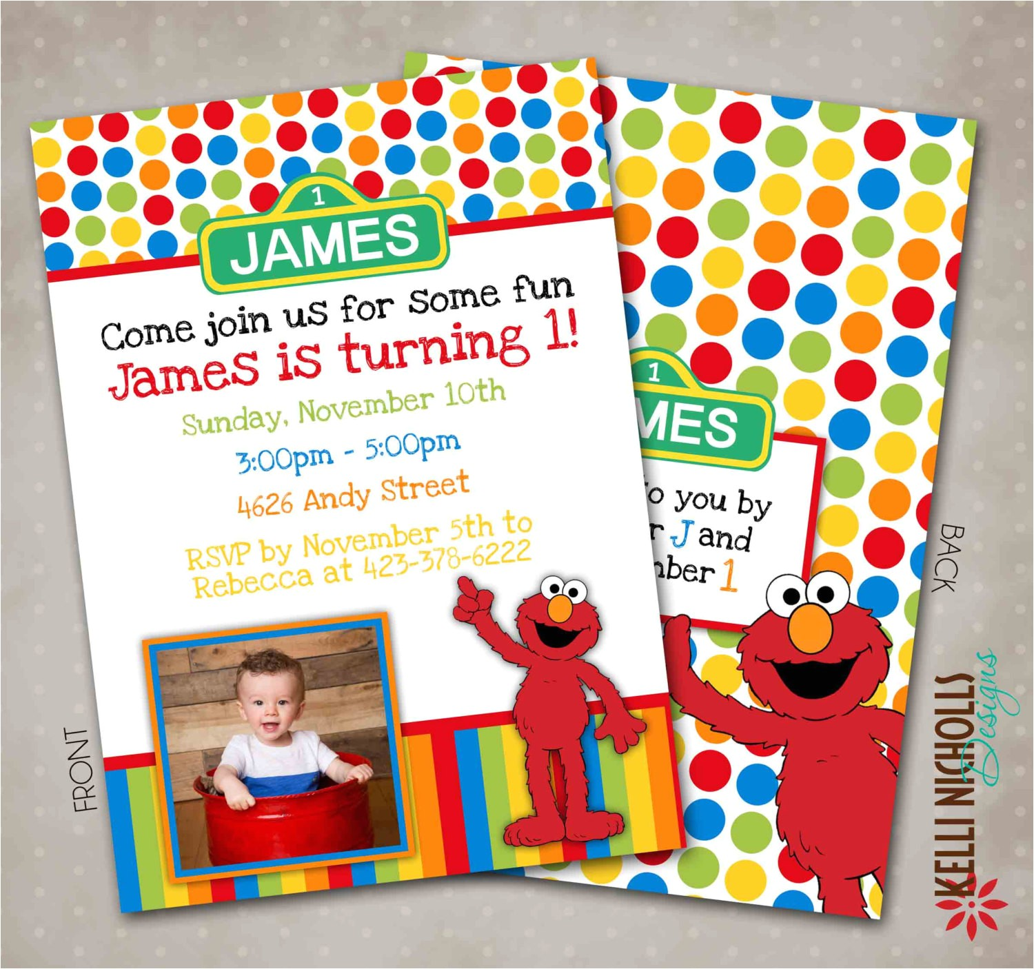 custom elmo birthday invitation