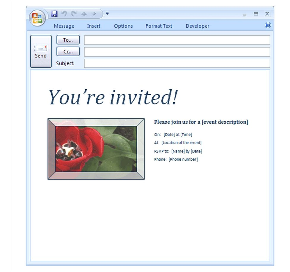 email party invitation template