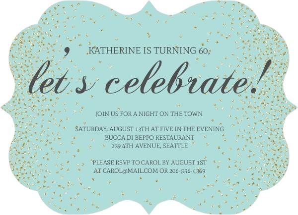 blue lets celebrate birthday invitation