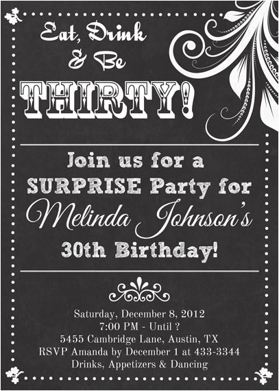 Email Birthday Invitations for Adults Chalkboard Look Adult Birthday Party Invitation