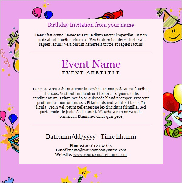Email Birthday Invitations Templates Birthday Invitation Email Template 27 Free Psd Eps