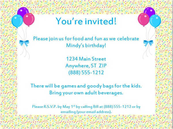 email party invitations template