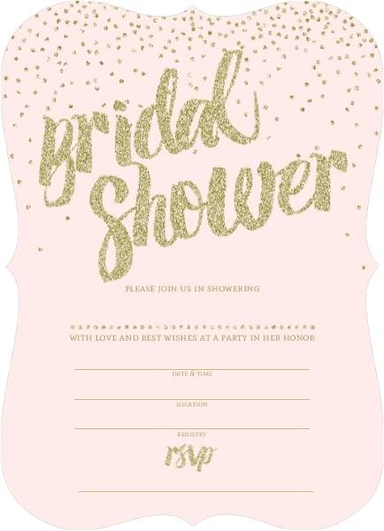 pink and gold glitter bridal shower invitation
